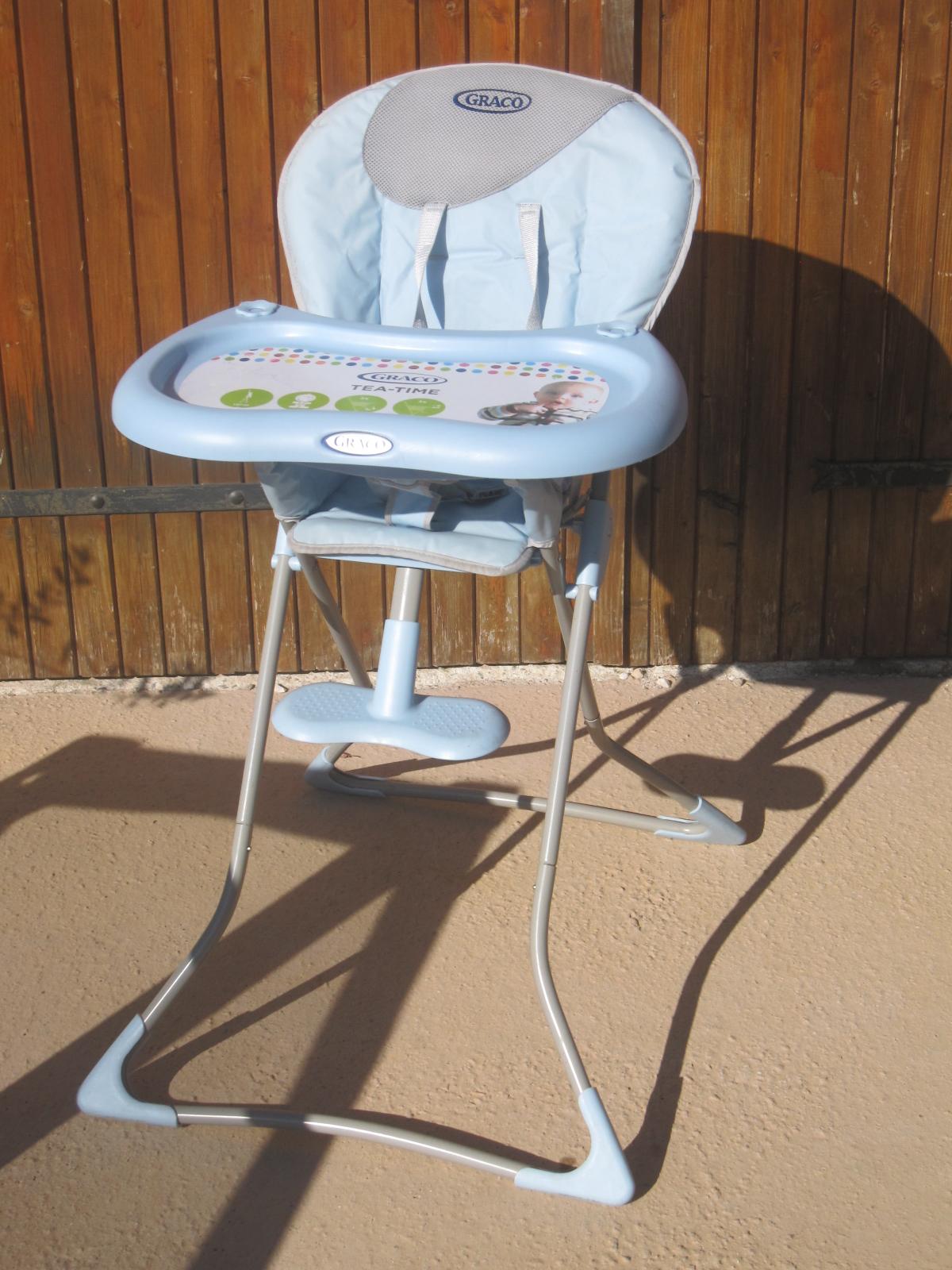 Chaise haute graco tea time blue aukazoo for Chaise haute graco